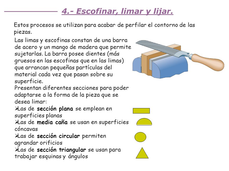 4.- Escofinar, limar y lijar.