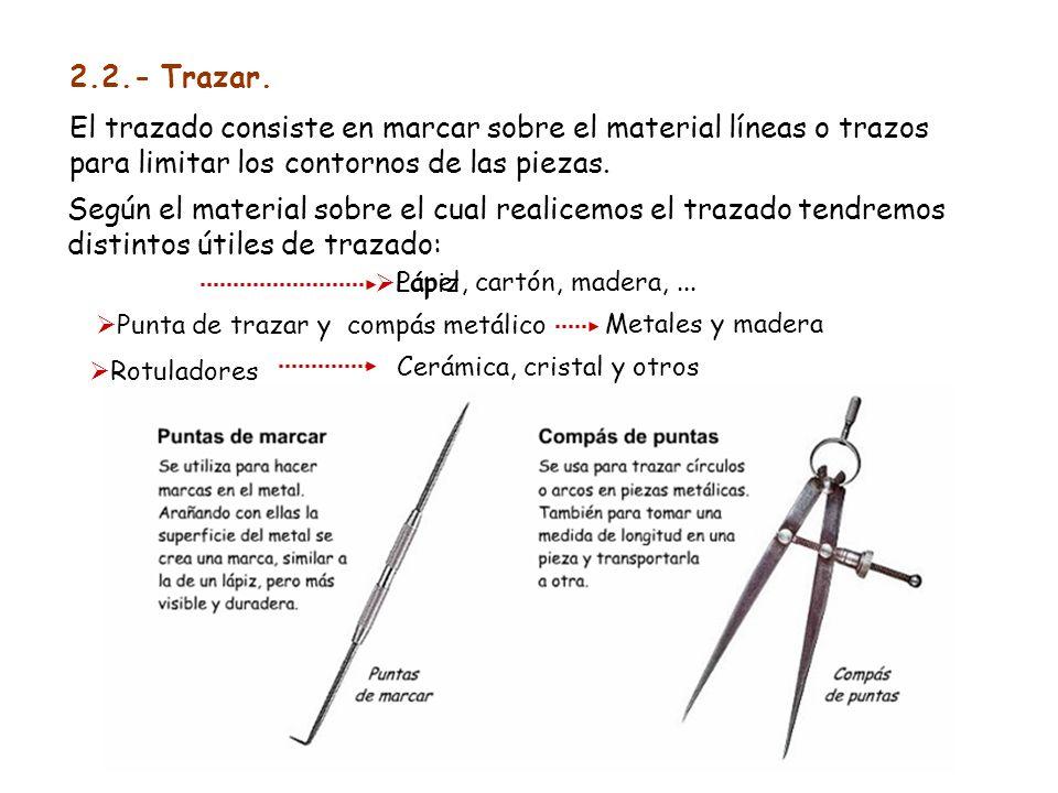 2.2.- Trazar.El trazado consiste en marcar sobre el material líneas o trazos para limitar los contornos de las piezas.