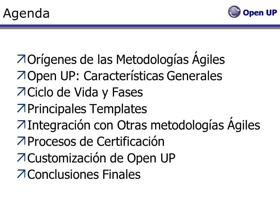 Agenda Orígenes de las Metodologías Ágiles. Open UP: Características Generales. Ciclo de Vida y Fases.