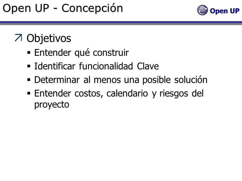 Open UP - Concepción Objetivos Entender qué construir