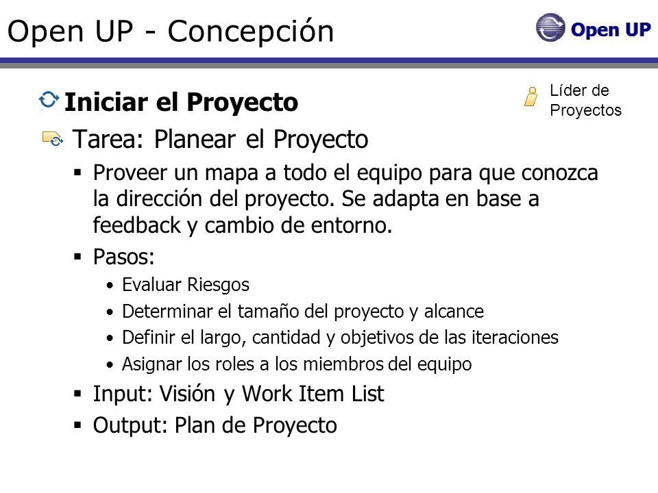 Open UP - Concepción Iniciar el Proyecto Tarea: Planear el Proyecto