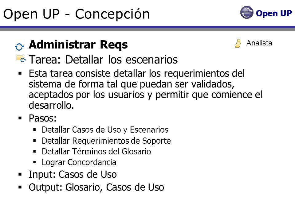 Open UP - Concepción Administrar Reqs Tarea: Detallar los escenarios