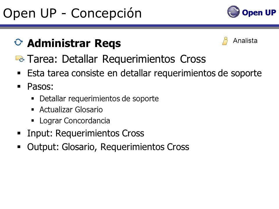 Open UP - Concepción Administrar Reqs
