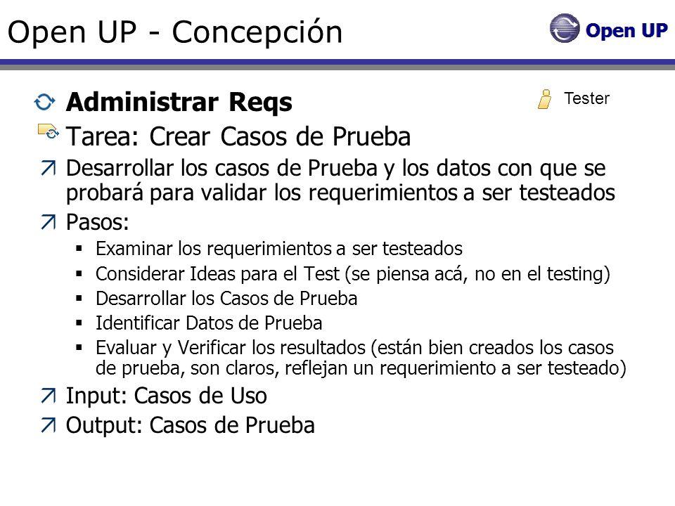 Open UP - Concepción Administrar Reqs Tarea: Crear Casos de Prueba