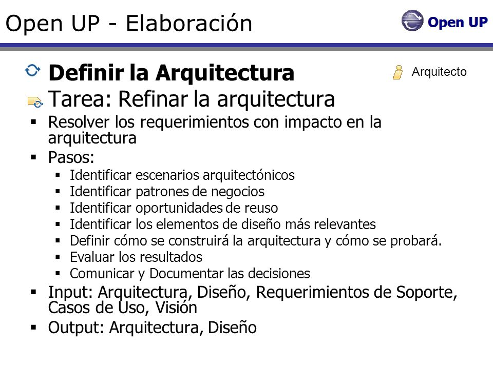 Definir la Arquitectura Tarea: Refinar la arquitectura