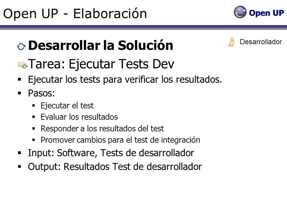 Desarrollar la Solución Tarea: Ejecutar Tests Dev