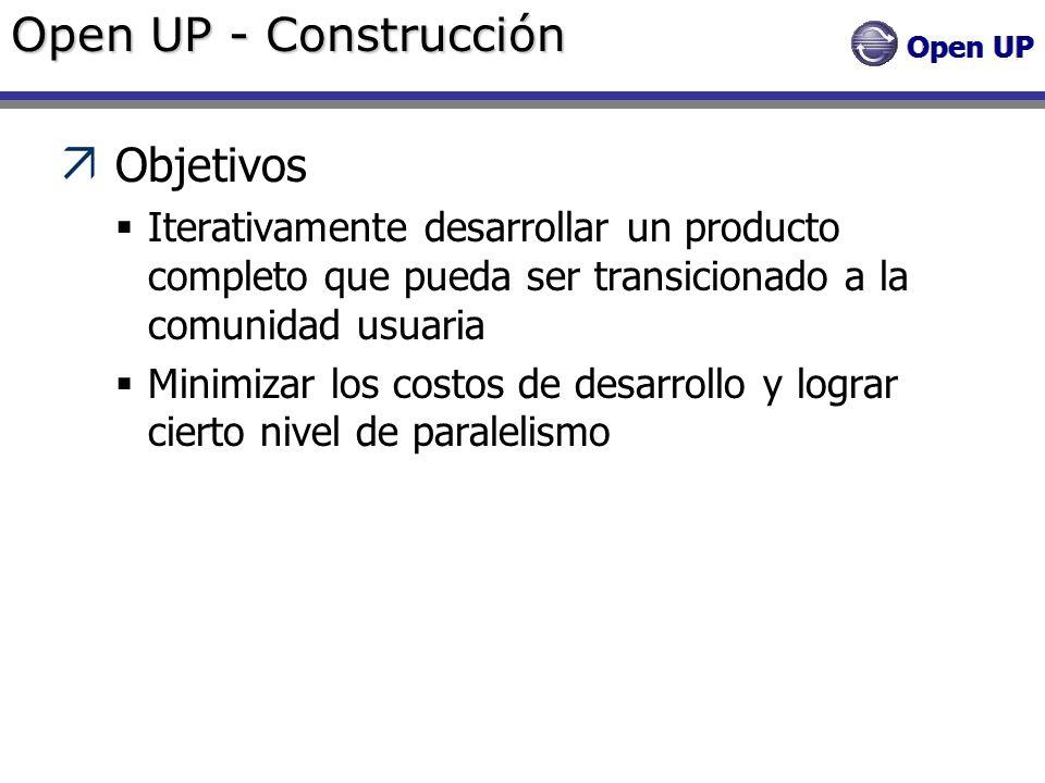 Open UP - Construcción Objetivos