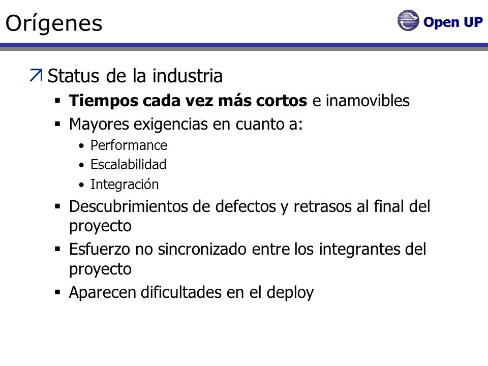 Orígenes Status de la industria