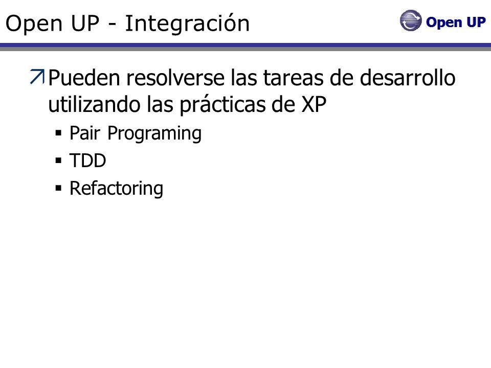 Open UP - Integración Pueden resolverse las tareas de desarrollo utilizando las prácticas de XP. Pair Programing.