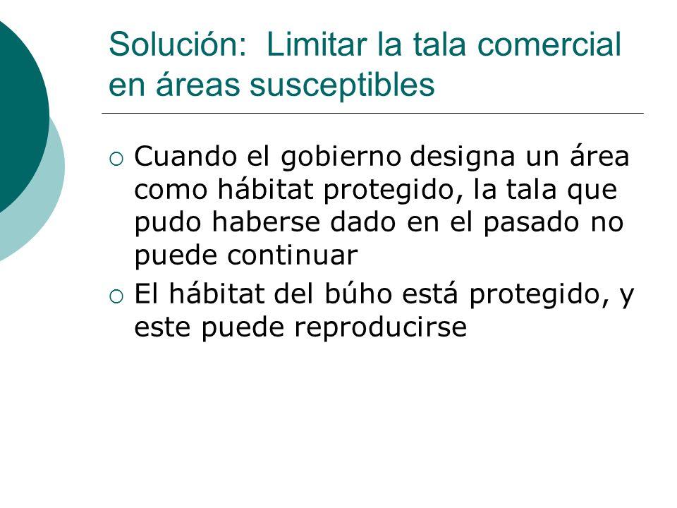 Solución: Limitar la tala comercial en áreas susceptibles