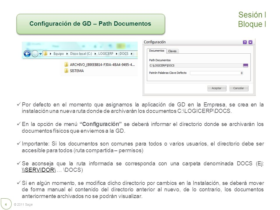 Configuración de GD – Path Documentos