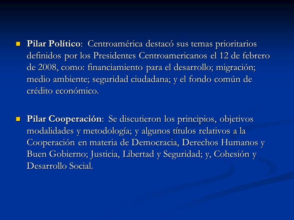 Pilar Político: Centroamérica destacó sus temas prioritarios definidos por los Presidentes Centroamericanos el 12 de febrero de 2008, como: financiamiento para el desarrollo; migración; medio ambiente; seguridad ciudadana; y el fondo común de crédito económico.