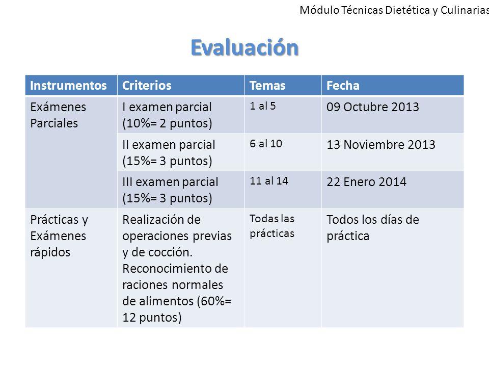 Evaluación Instrumentos Criterios Temas Fecha Exámenes Parciales