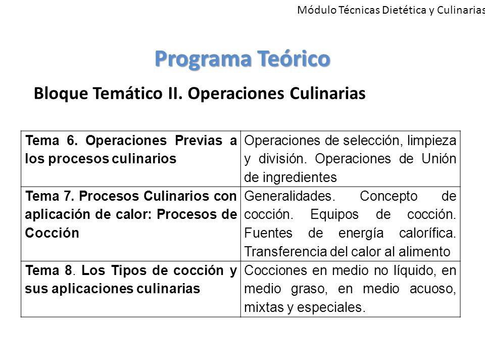 Programa Teórico Bloque Temático II. Operaciones Culinarias