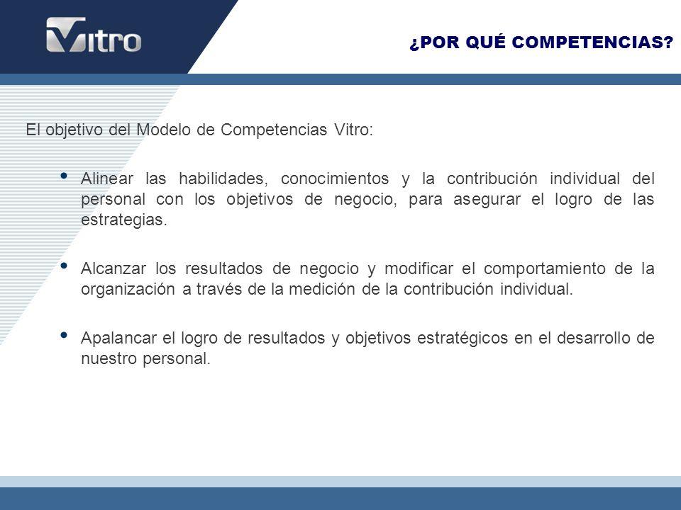 ¿POR QUÉ COMPETENCIAS El objetivo del Modelo de Competencias Vitro:
