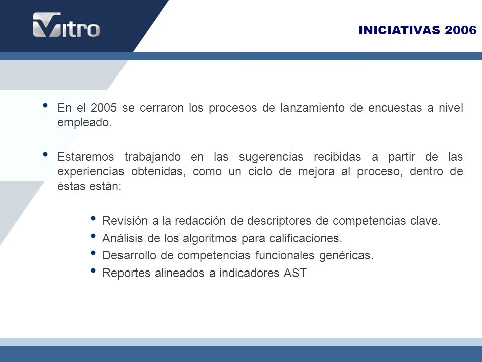 INICIATIVAS 2006 En el 2005 se cerraron los procesos de lanzamiento de encuestas a nivel empleado.