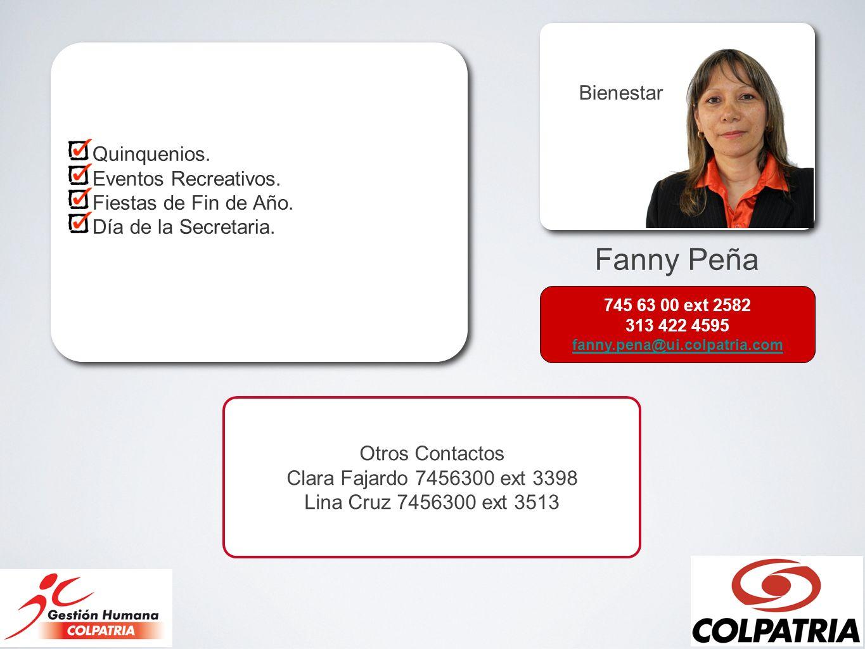Fanny Peña Bienestar Quinquenios. Eventos Recreativos.