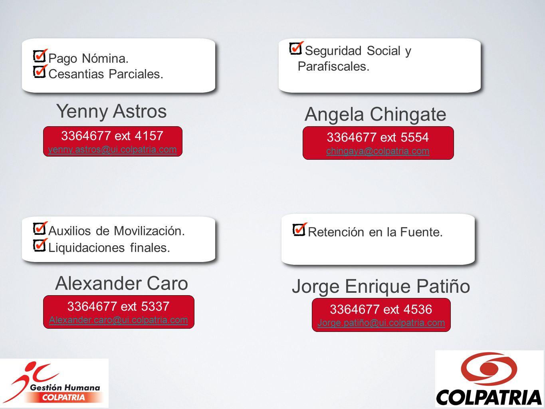 Yenny Astros Angela Chingate Alexander Caro Jorge Enrique Patiño