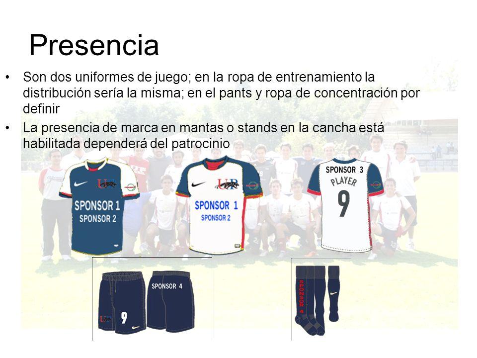 Presencia Son dos uniformes de juego; en la ropa de entrenamiento la distribución sería la misma; en el pants y ropa de concentración por definir.