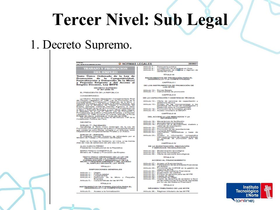 Tercer Nivel: Sub Legal