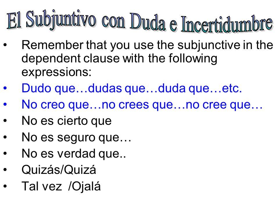 El Subjuntivo con Duda e Incertidumbre