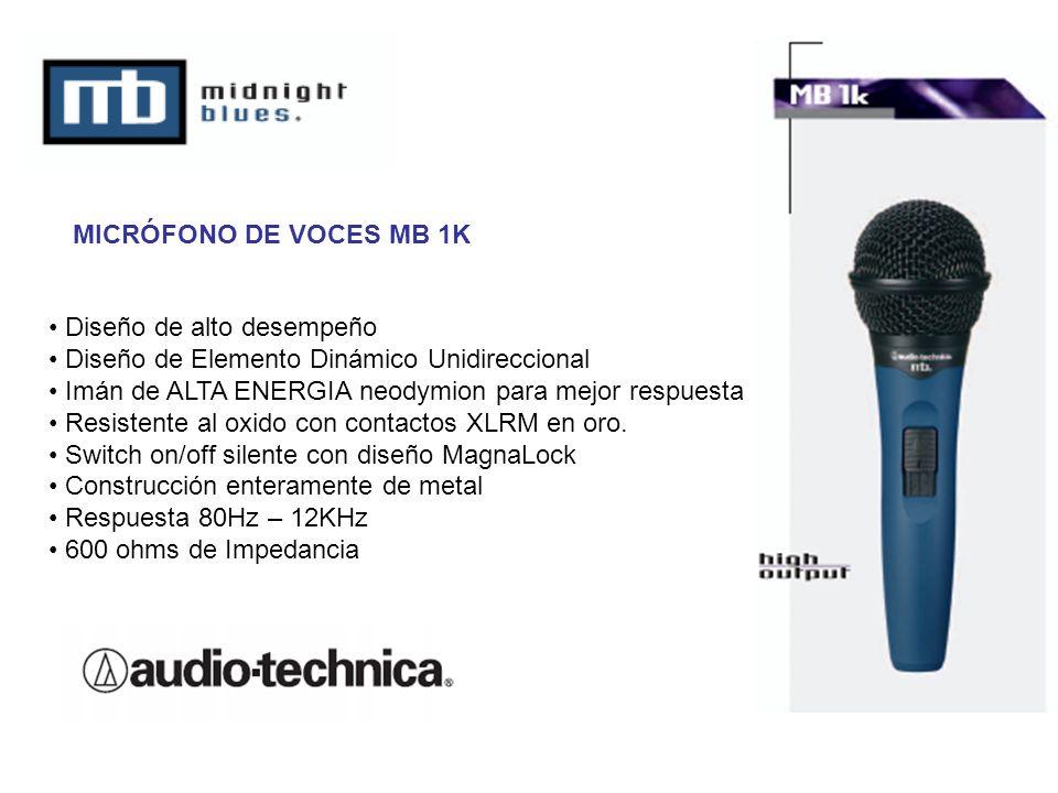 MICRÓFONO DE VOCES MB 1K Diseño de alto desempeño. Diseño de Elemento Dinámico Unidireccional. Imán de ALTA ENERGIA neodymion para mejor respuesta.