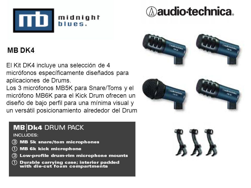 MB DK4 El Kit DK4 incluye una selección de 4 micrófonos específicamente diseñados para aplicaciones de Drums.