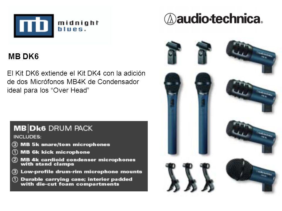 MB DK6 El Kit DK6 extiende el Kit DK4 con la adición de dos Micrófonos MB4K de Condensador ideal para los Over Head