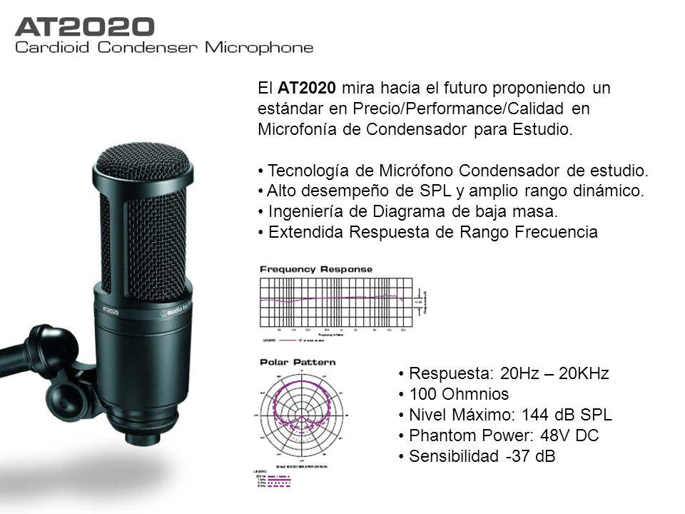 El AT2020 mira hacia el futuro proponiendo un estándar en Precio/Performance/Calidad en Microfonía de Condensador para Estudio.