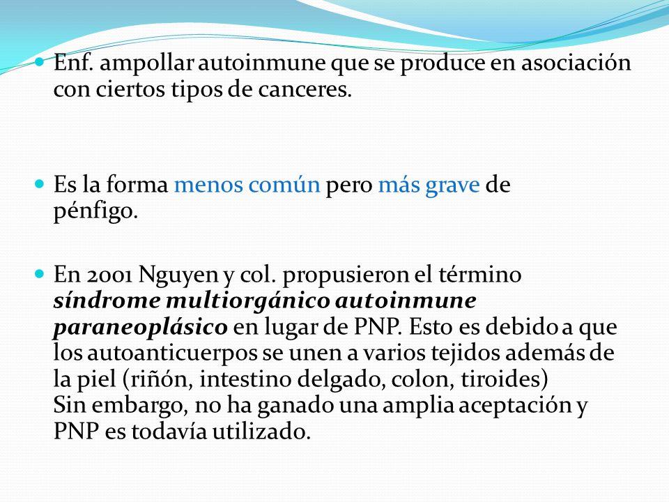 Enf. ampollar autoinmune que se produce en asociación con ciertos tipos de canceres.