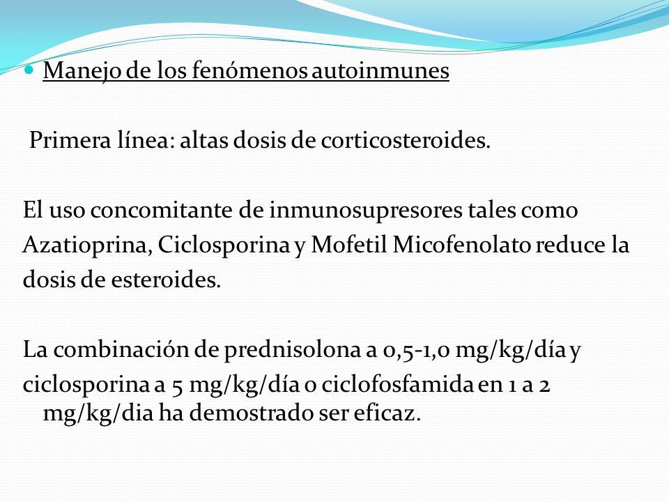 Manejo de los fenómenos autoinmunes