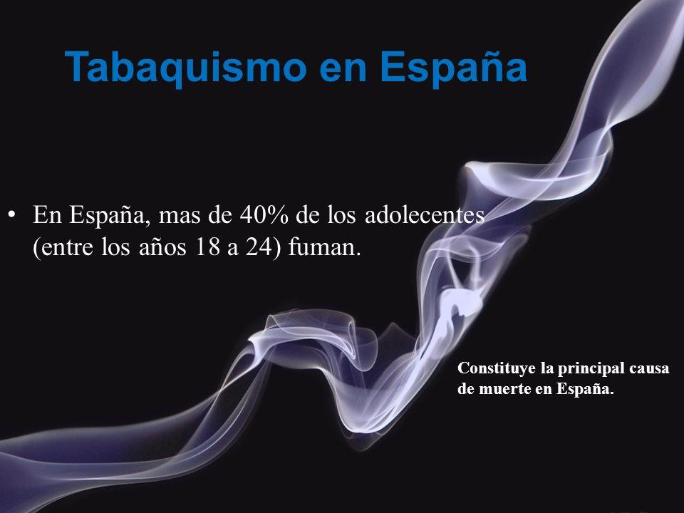 Tabaquismo en España En España, mas de 40% de los adolecentes (entre los años 18 a 24) fuman.