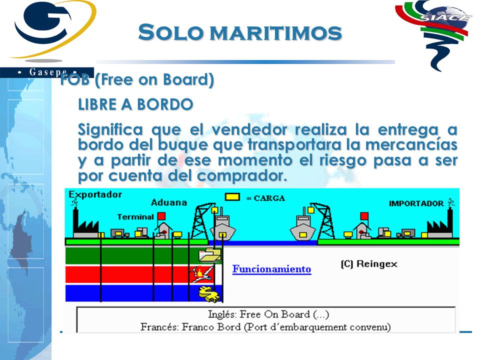Solo maritimos FOB (Free on Board) LIBRE A BORDO