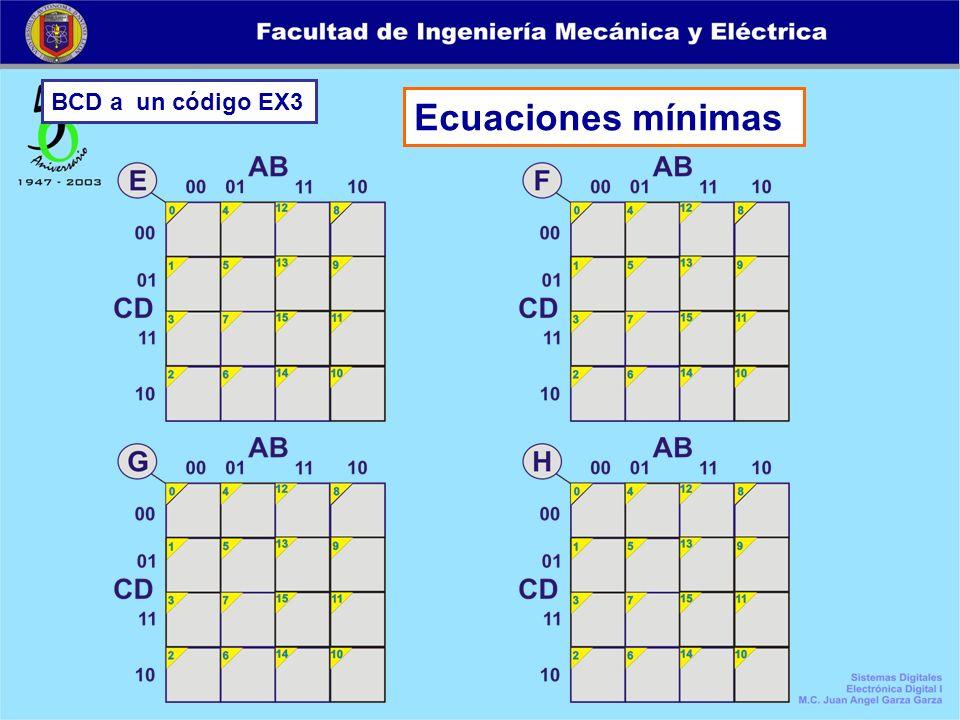 BCD a un código EX3 Ecuaciones mínimas