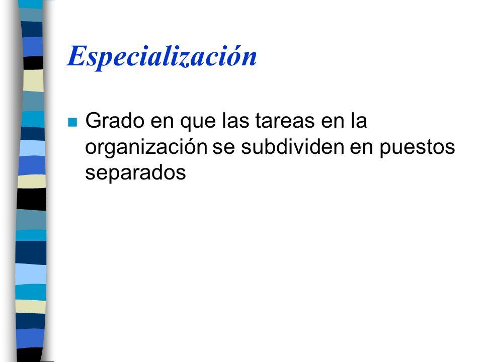 Especialización Grado en que las tareas en la organización se subdividen en puestos separados