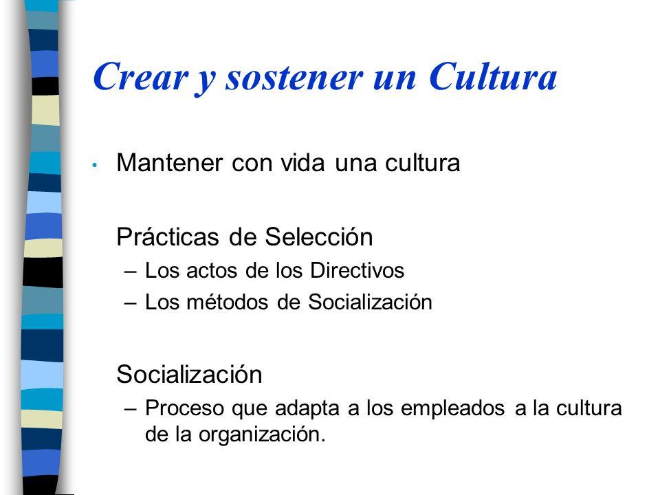 Crear y sostener un Cultura