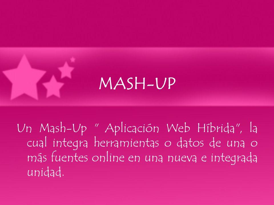 MASH-UP Un Mash-Up Aplicación Web Híbrida , la cual integra herramientas o datos de una o más fuentes online en una nueva e integrada unidad.