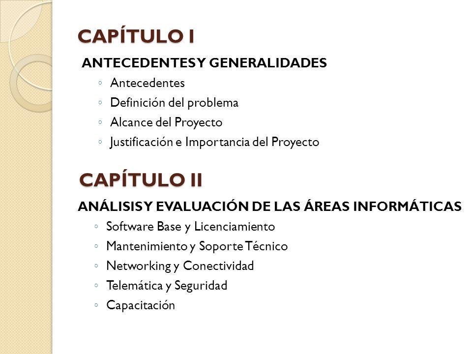 CAPÍTULO I CAPÍTULO II ANTECEDENTES Y GENERALIDADES Antecedentes