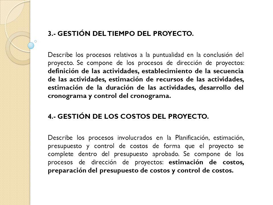 3.- GESTIÓN DEL TIEMPO DEL PROYECTO.