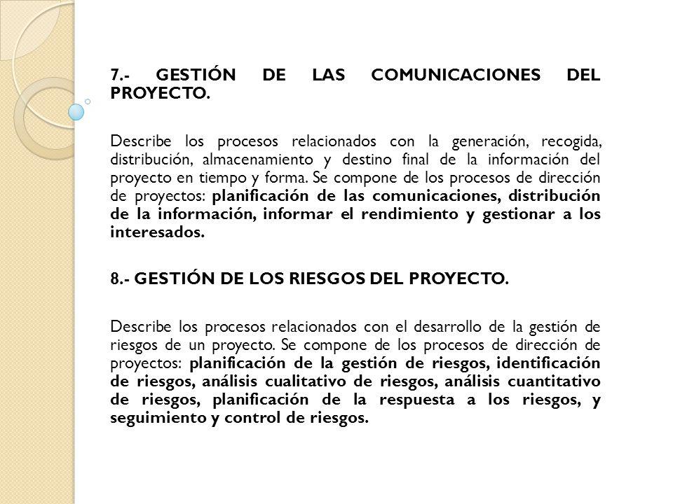 7.- GESTIÓN DE LAS COMUNICACIONES DEL PROYECTO.