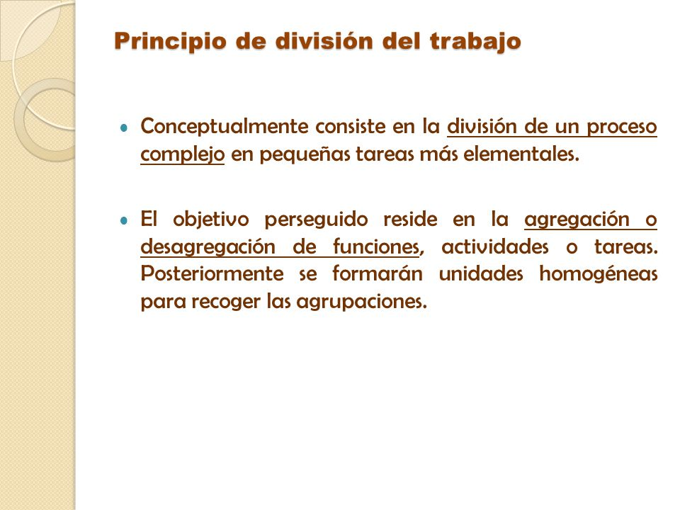 Principio de división del trabajo