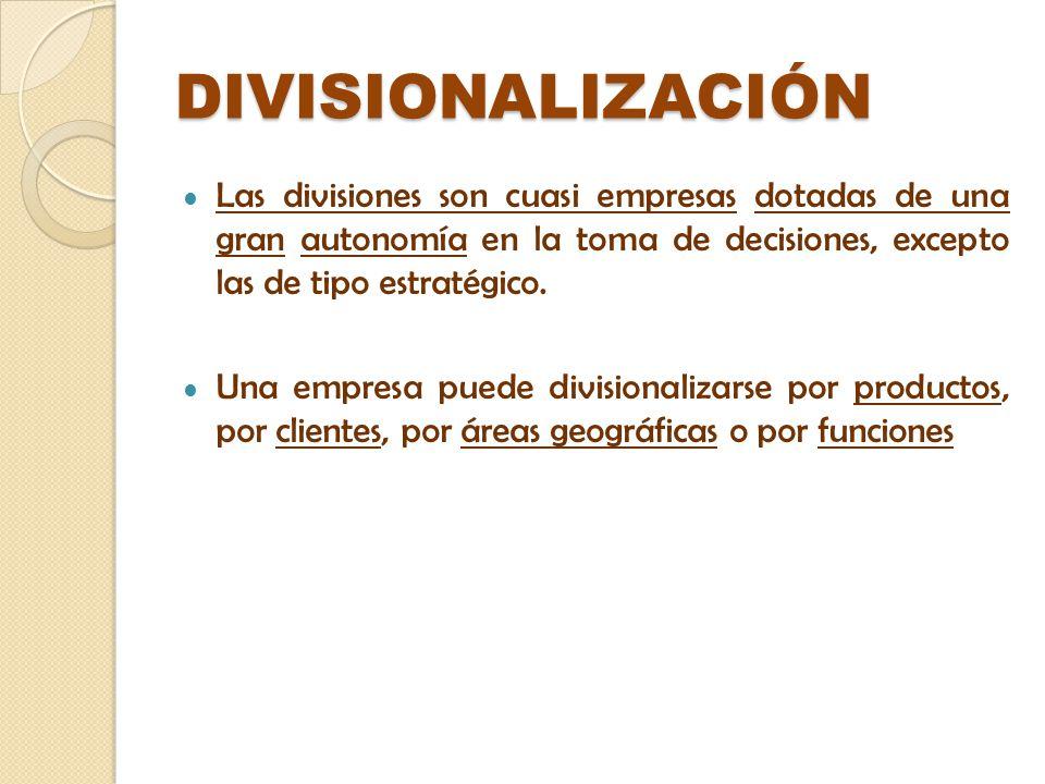 DIVISIONALIZACIÓN Las divisiones son cuasi empresas dotadas de una gran autonomía en la toma de decisiones, excepto las de tipo estratégico.