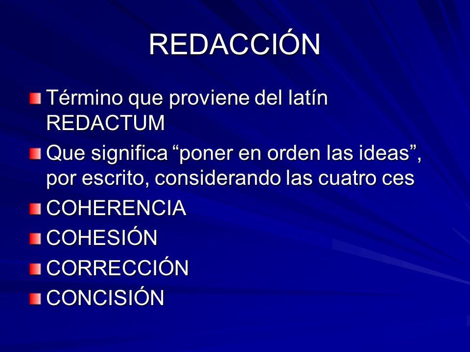 REDACCIÓN Término que proviene del latín REDACTUM