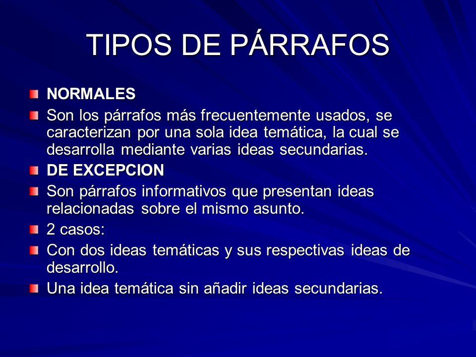 TIPOS DE PÁRRAFOS NORMALES