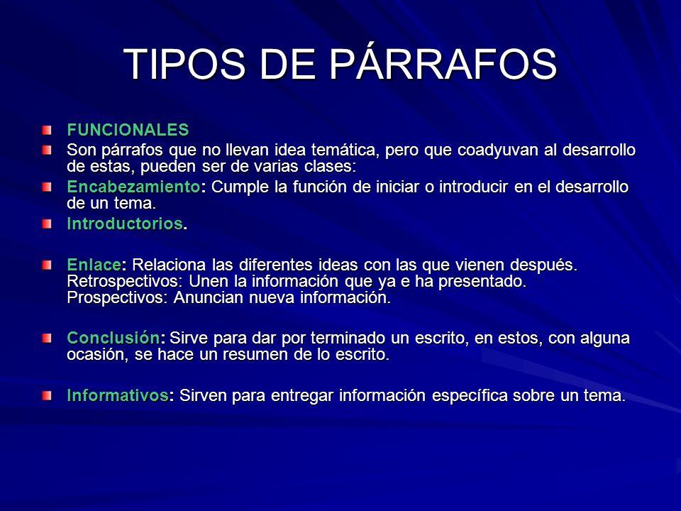 TIPOS DE PÁRRAFOS FUNCIONALES