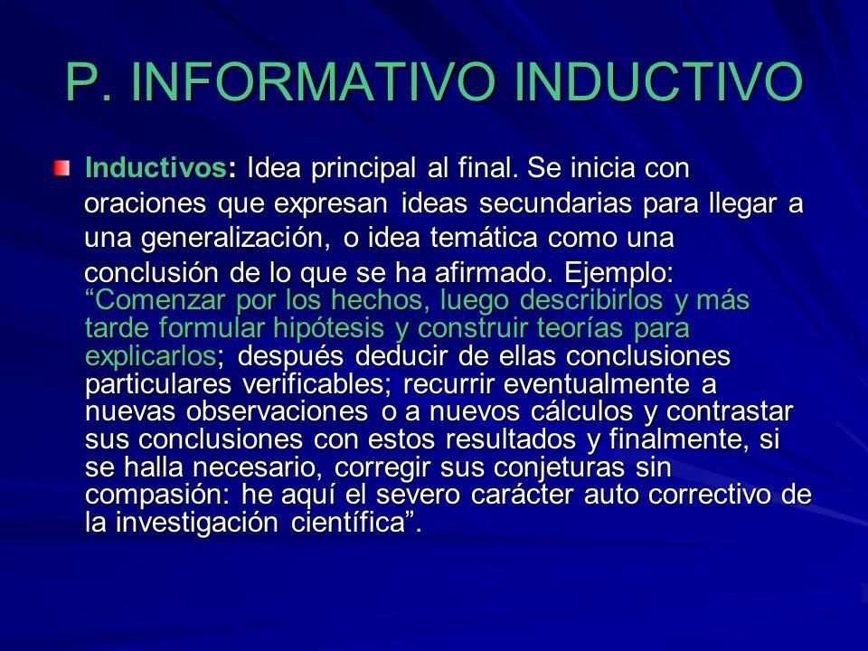 P. INFORMATIVO INDUCTIVO
