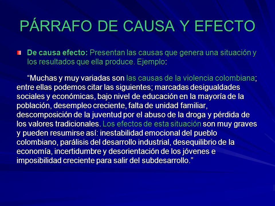 PÁRRAFO DE CAUSA Y EFECTO