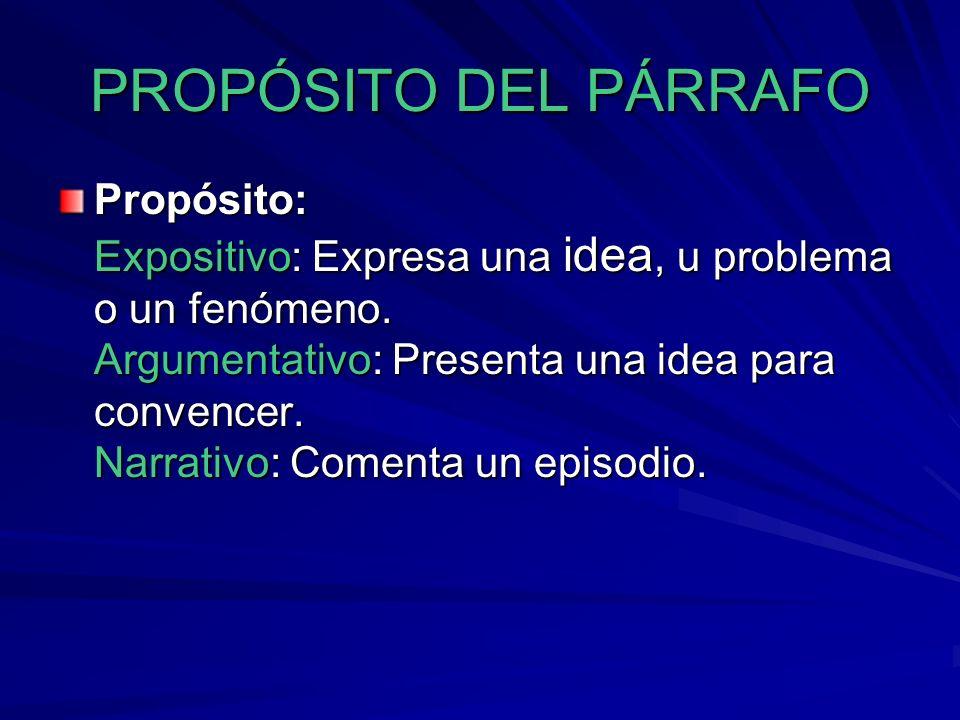 PROPÓSITO DEL PÁRRAFO