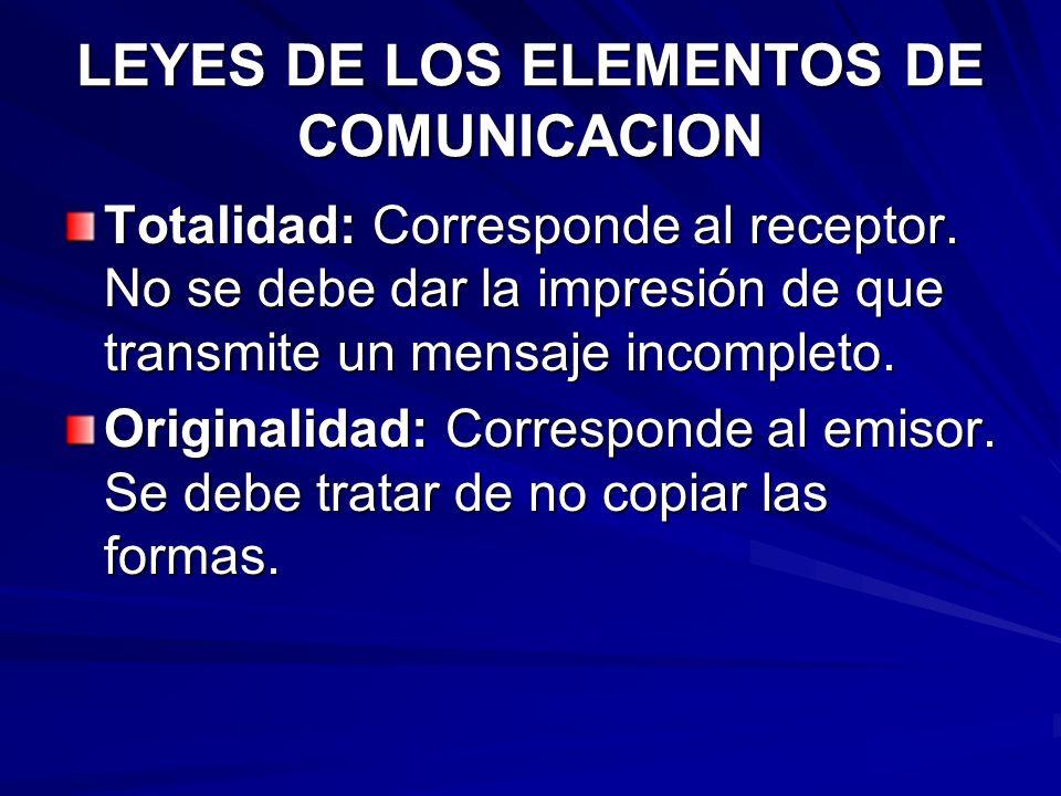 LEYES DE LOS ELEMENTOS DE COMUNICACION