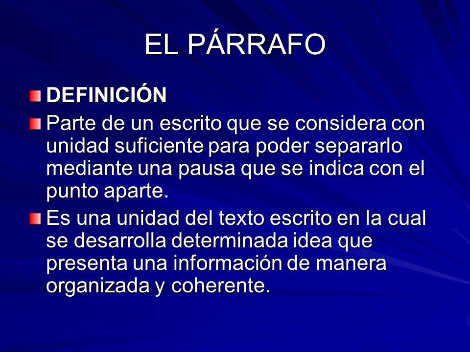 EL PÁRRAFO DEFINICIÓN.